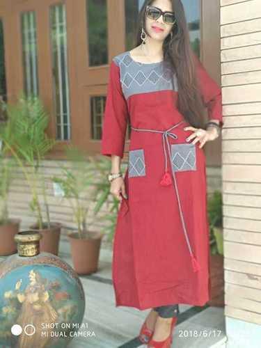 Red Cotton Slub Straight Embellished Neck & Pocket Kurti in  Vaishali Nagar