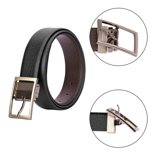 Twisting Metal Finish Buckle Reversible Belt