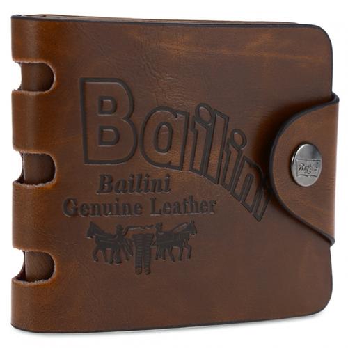 Men's Transverse Leather Wallet (Brown)