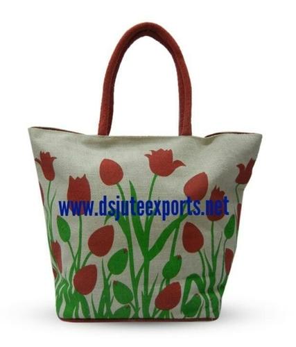 Flower Design Jute Bags