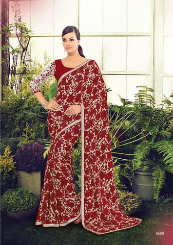 Printed Saree With Embroidery And Piping