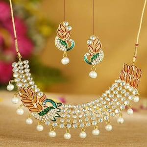 Brilliant Gold Plated Ad White Pearl Choker Necklace Set For Women