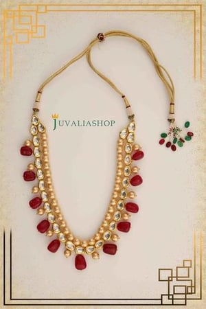 Designer Traditional Necklaces (Uncut Polki Perals And Ruby Beads)