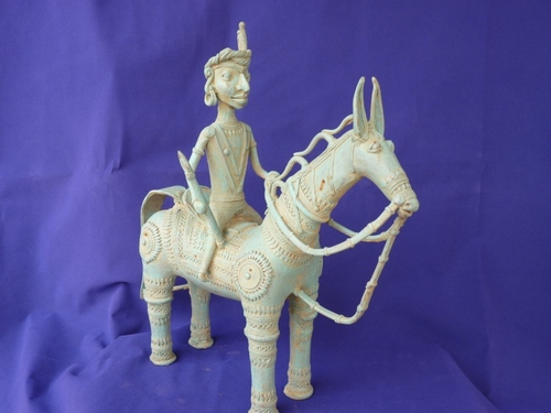 Dhokra Handicraft Tribal Man Riding Horse