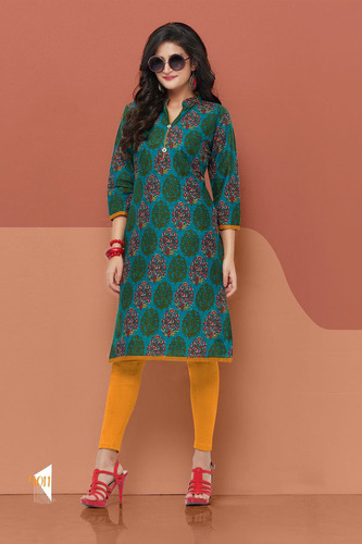Collar Printed Cotton Kurti