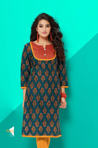 Full Sleeves Printed Cotton Kurti
