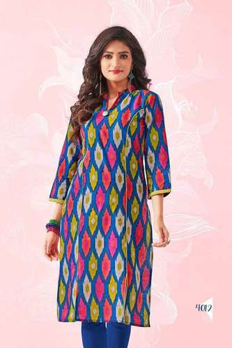 Ladies Collar Printed Cotton Kurti
