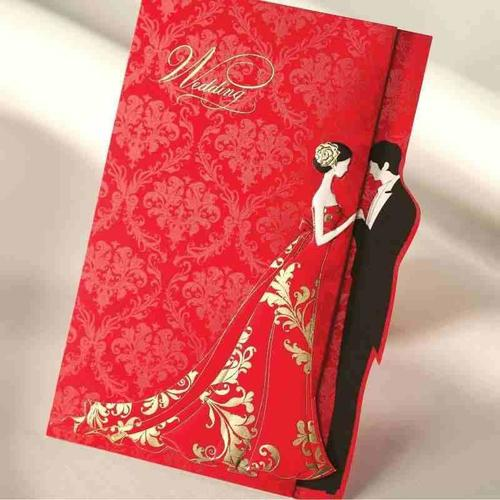 Red Color Bride And Groom Design Printed Wedding Cards In New Delhi