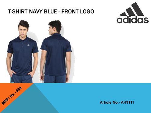 Men Navy Blue T Shirt- Front Logo (Adidas)