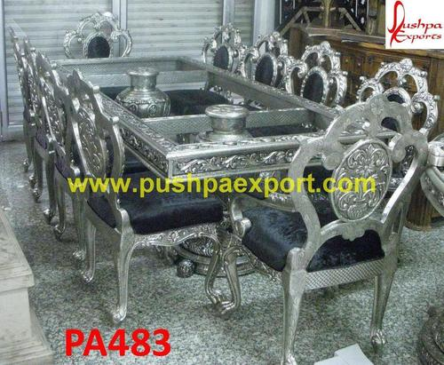 Metal Carving Dining Table Chair
