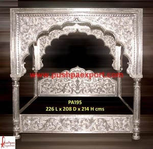Twinkle Bed Silver White Metal Wooden Carved Bed