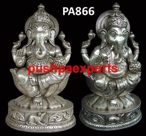 White Metal Ganesh Laxmi Statue