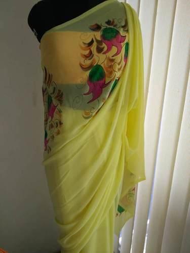 Semi Georgette Hand Painted Saree