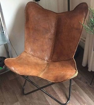 Leather And Metal Chair Crafted