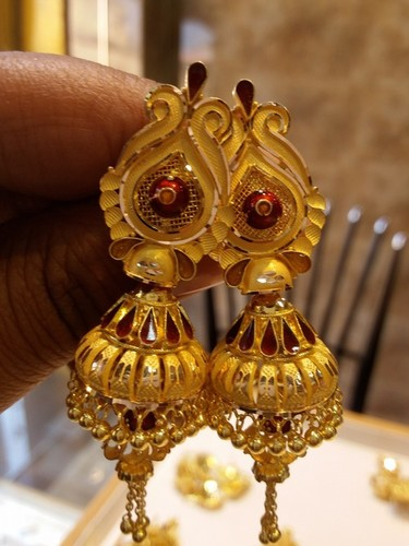 ac0696d1af87a Ladies Gold Jhumka Earrings in Varanasi, Uttar Pradesh - shiv jewellers