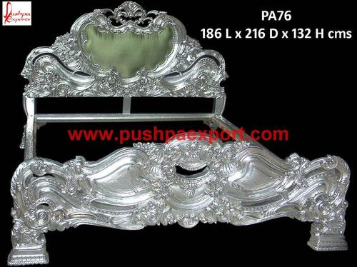 White Metal Carved Bed