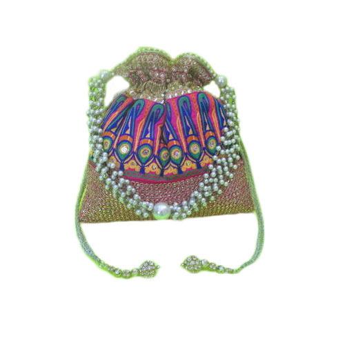 Rajasthani Lace With Pearl Handle Batua