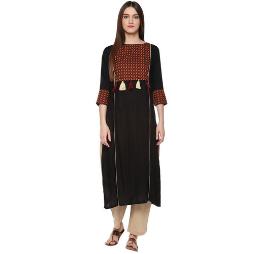 Handloom Palace Solid Pattern Straight Kurtis For Womens