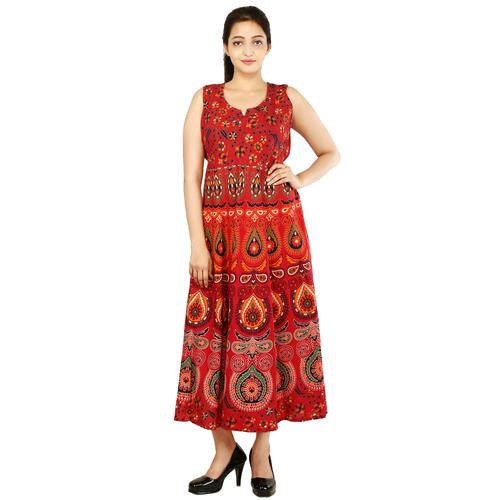 Handloom Palace Multi Color Womens Mandala Long Dress