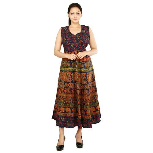 Women Mandala Maxi Multi Color Dress