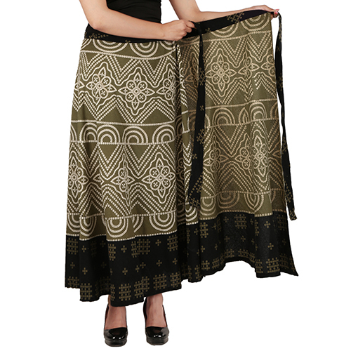 Handloom Palace Long Wrap Around Multi Color Printed Skirt For Women