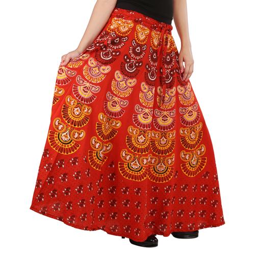 Handloom Palace Long Multi Colour Mandala Skirt For Women Printed