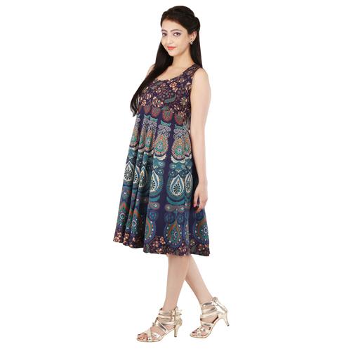 Handloom Palace Mandala Short Women Dress Multi Color