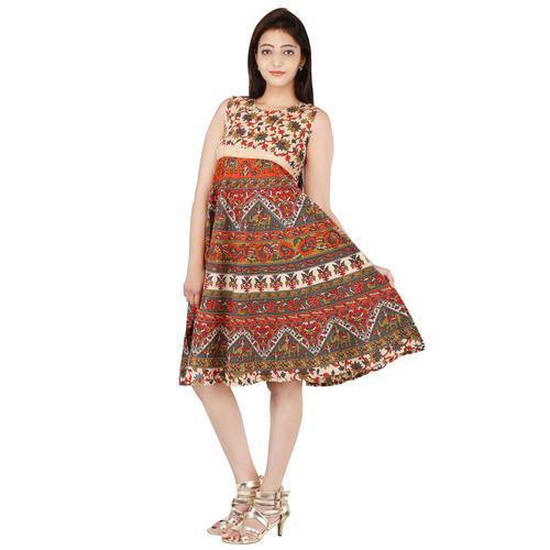Handloom Palace Multi Color Mandala Women Dress