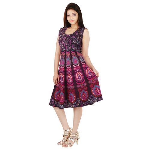 Handloom Palace Printed Multi Color Mandala Women Short Dress