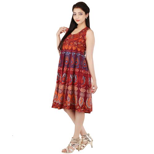 Handloom Palace Women Short Dress Multi Color
