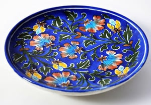 Flower Printed Blue Color Pottery