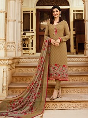 126a62deb6 Prachi Desai BEIGE COLOR Royal Crape Embroidered Straight Suit in ...