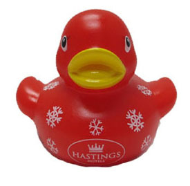 Rubber Bath Duck Printed With Snowflake