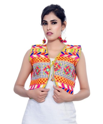 278854ad65 Chakkar -Women's Dupion Silk Kutchi Embroidered Sleeveless Waist Length  Jacket in Ahmedabad, Gujarat - Banjara India