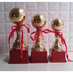Golden Award Trophy For Sports Wooden And Metal Brown
