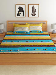 Printed White Cotton Double Bed Sheet