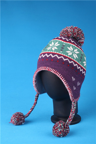 Cute Kids Warm Knitted Handmade Brocade Venonat Bomber Hat Jacquard Cap