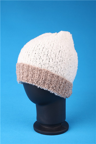 Winter Warm Outdoor Knitted Flanging Brocade Hat