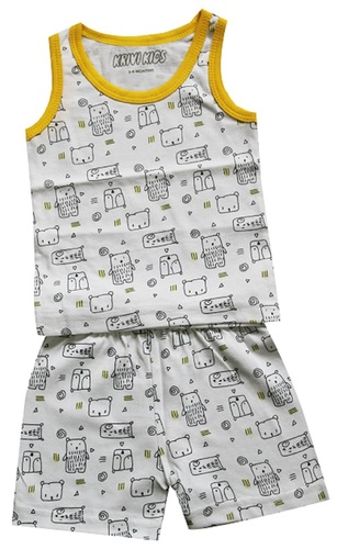 9508bb2e123c Printed Fabric Sleeve Less Top And Bottom Shorts Set For Babies ...