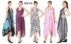 Silk And Poly Crape Printed Holter Neck Dress