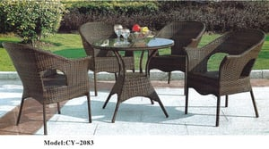 Brown Garden Furniture - Table And Chairs