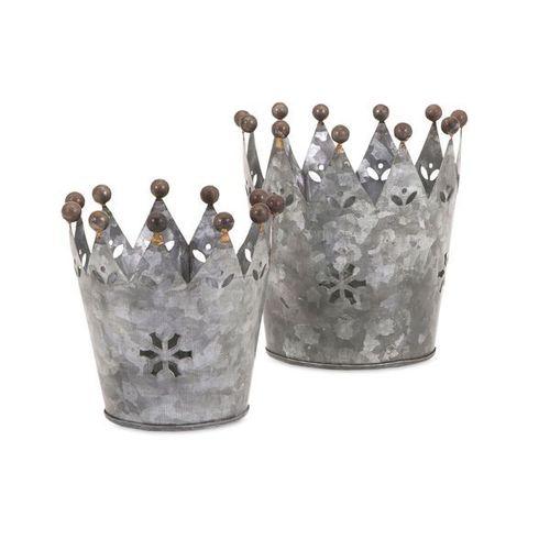 Galvanized Crown Pot