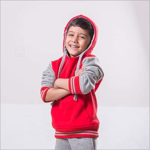 Red Color Grey Color Kids Sweatshirt