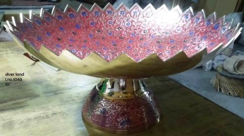 Brass Decorative Embossed Enameled Fruit Bowl