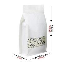 White Kraft Paper Flat Bottom Pouch With Zipper