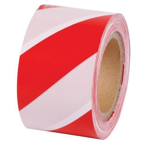 White And Red Barricade Safety Tape