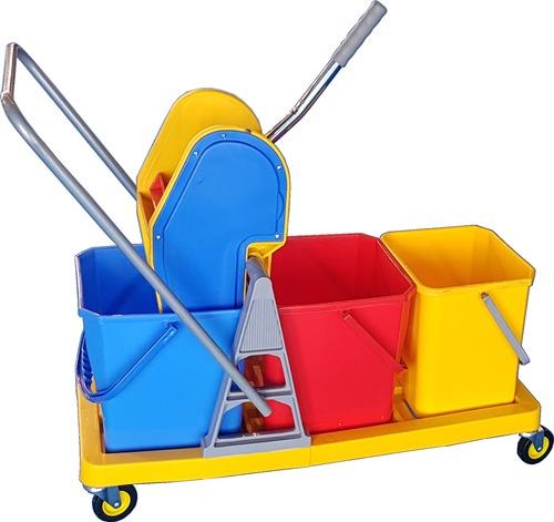 Triple Bucket Mop Wringer Trolley 48l