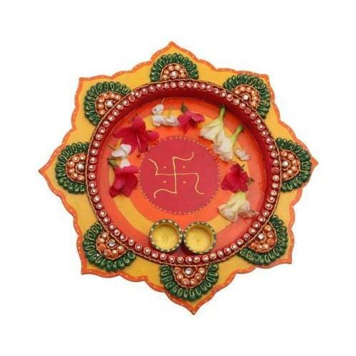 Diya Design Wooden Pooja Thali