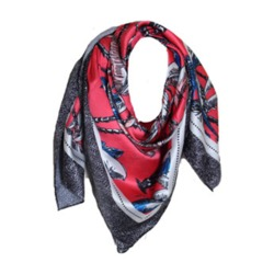 Branded Women's Polyester Satin Square Scarf