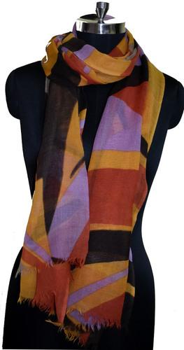 Geometrical Print Wool Scarf